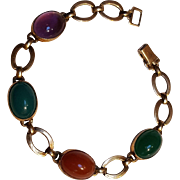 WRE Richards Symmetalic sterling bracelet glass cabochon stones
