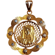18K Gold platinum virgin Mary pendant religious