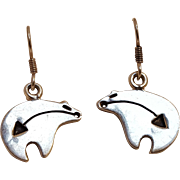 Sterling silver Mexico heart line bear earrings