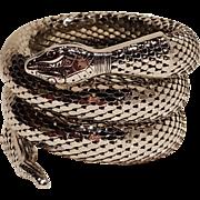 Whiting Davis snake bracelet three coil wrap