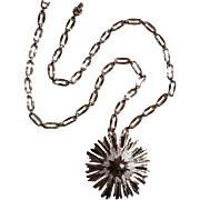 Monet starburst pendant necklace silver tone