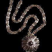 Monet starburst pendant necklace silver tone