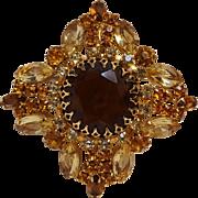 Rhinestone brooch pin pendant topaz  citrine amber colors