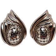 Whiting & Davis mesh clip earrings silver tone