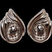 Whiting & Davis mesh clip earrings silver tone