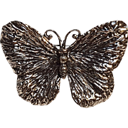 Napier butterfly pin heavily embossed silver tone