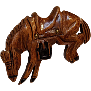 Novelty carved wood bucking horse pin