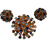 Rhinestone starburst dome pin clip earrings set blue