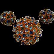 Rhinestone starburst dome pin clip earrings set blue