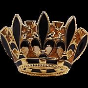 Trifari enamel crown pin fleur de lis