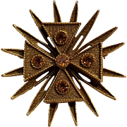 Benedikt maltese cross sun ray pin