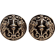 Napier Baroque Dragon clip  earrings open metalwork