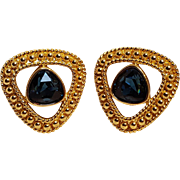 Swarovski blue crystal clip earrings