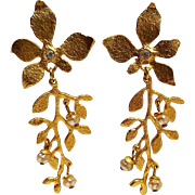 Cecile Jeanne Paris clip earrings shoulder duster flower