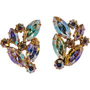 Kramer aurora borealis rhinestone clip earrings,