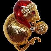 Napier Christmas mouse pin enamrel rhinestone