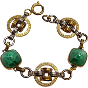 Art Deco Peking glass sugarloaf bracelet