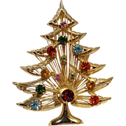 Brooks rhinestone Christmas tree pin