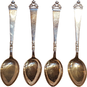 Nils Hansen Norway 830 Silver teaspoons Odel pattern set of 4