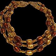 Bohemian foil glass bead necklace three strand