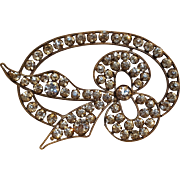 Rhinestone silvered copper applique bow motif