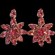 Pink rhinestone star flower drop earrings screw back
