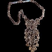 Goldette Etruscan Renaissance revival bib necklace bezel set crystals