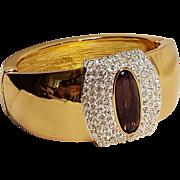 Napier chunky rhinestone wide hinged cuff bracelet