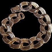 Sterling silver bracelet triple flat  link  chain