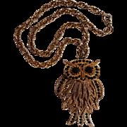 Rhinestone owl pendant articulated black stones