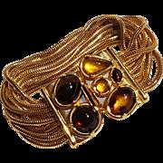 Monet bracelet Fall color cabochons nine strand snake chain