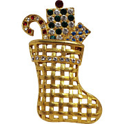 Eisenberg Ice rhinestone Christmas stocking pin