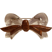 Lucite ice wood bow pin Depression era