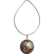 Sterling silver 18K gold Peruvian bird pendant turquoise eye