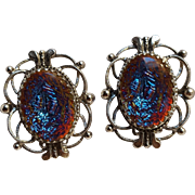 Whiting & Davis dragons breath glass cabochon clip earrings