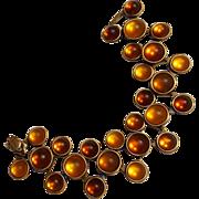 Bracelet amber frosted satin glass cabochon