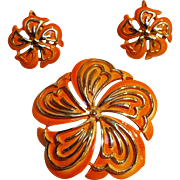 Coro orange enamel flower pin clip earring set