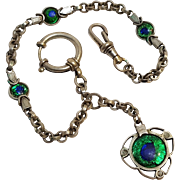 Antique Peacock eye glass watch chain and fob