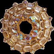 Aurora borealis colorless crystal circle wreath pin
