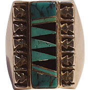 Southwest sterling silver ring turquoise onyx inlay
