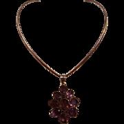 Sterling silver Taxco choker amethyst stone pendant