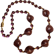 Venetian glass bead necklace purple  twist leaf