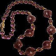 Venetian glass bead necklace purple  twist leaf
