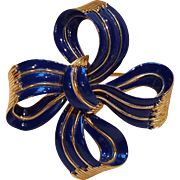 Trifari blue enamel bow ribbon pin