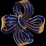 Trifari blue enamel bow ribbon pin