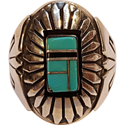 Keoni Native American sterling silver turquoise inlay ring