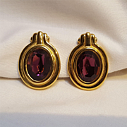 Givenchy earrings purple glass stone