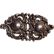 Antique sterling silver repousse  belt buckle