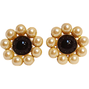 Ann Taylor clip earrings simulated pearl black cabochon