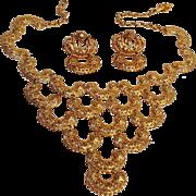Vendome lacy metal bib necklace earrings set